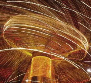 Golden swirl of light like a spinning top